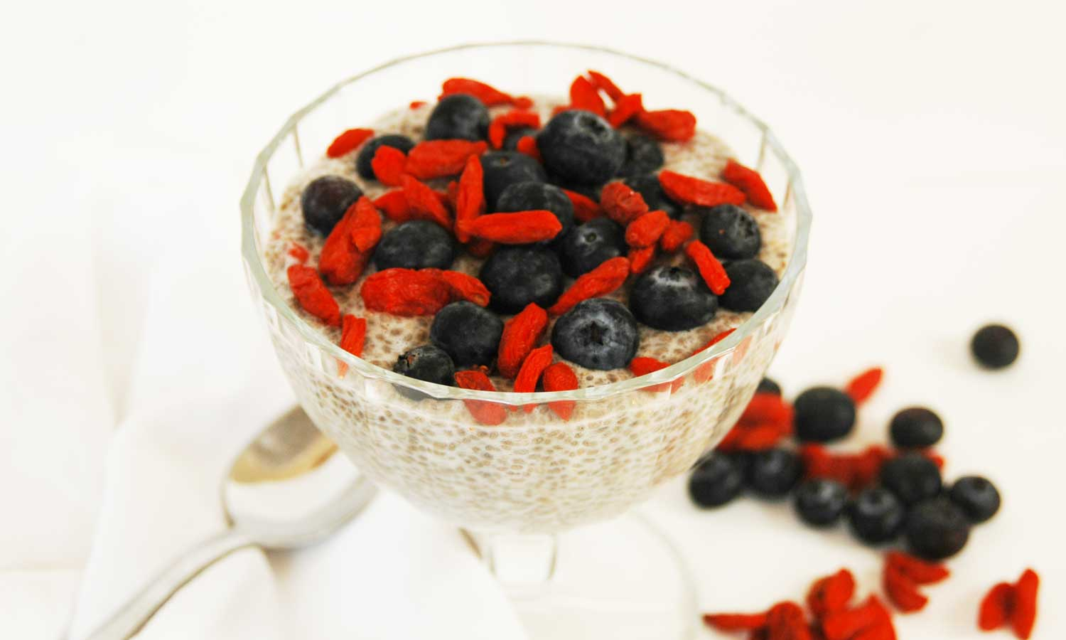 chia pudding with goji and blueberries
