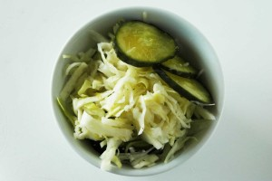 simple fermented cabbage and cucumbers
