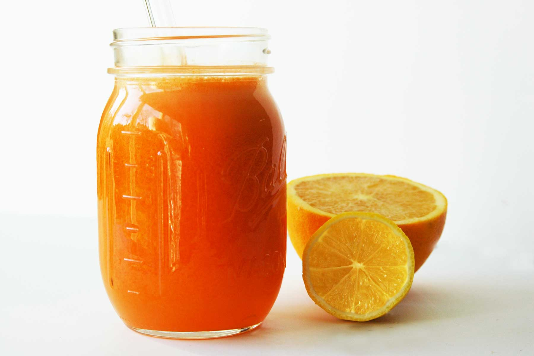 orange, carrot, ginger juice with turmeric
